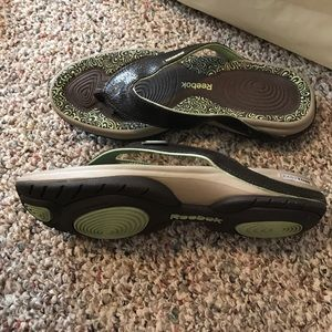 acfc6f2acded1 Reebok Shoes - Reebok toning flip flops in dark brown w green
